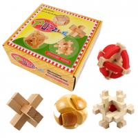 подарочный набор из 4-х деревянных головоломок Шкатулка
