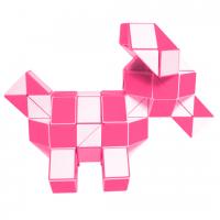 головоломка Супер-Змейка 108 сегментов / 185 см бело-розовая с квадратным сечением