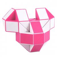 головоломка Змейка 36 сегментов / 61 см бело-розовая с квадратным сечением